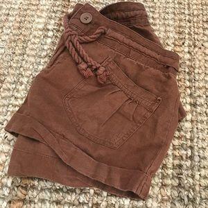 Women's Linen Drawstring Shorts Cognac size 25 EUC